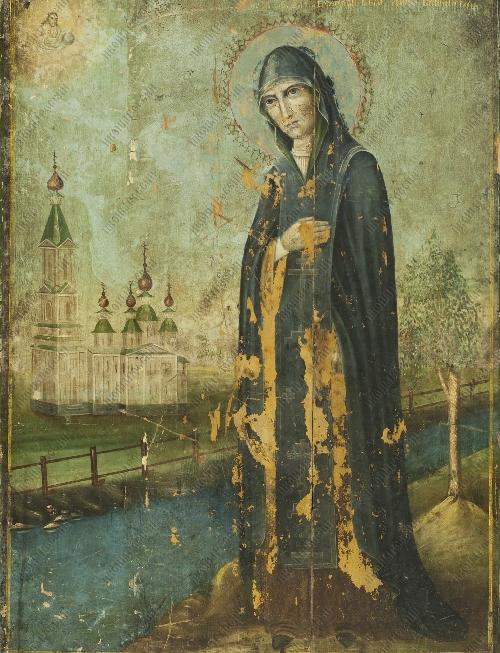 Святая благоверная великая княгиня Анна Кашинская с монастырем, в молении облачному Спасу