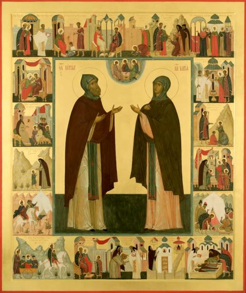 Житийная икона Кирилл и Мария Радонежские