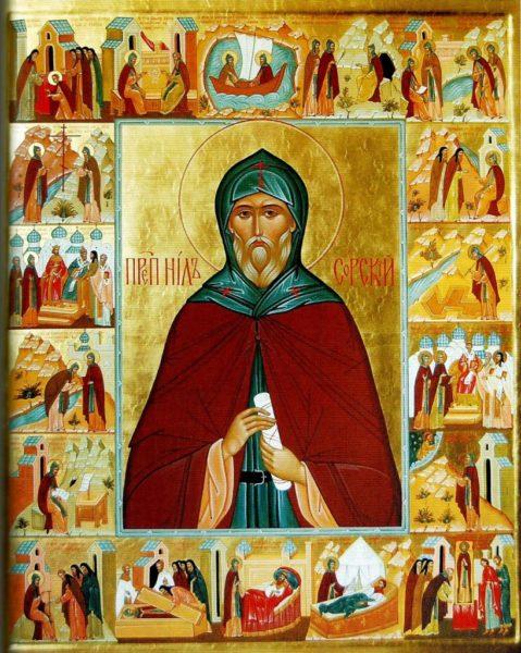 Икона Нил Сорский с житием