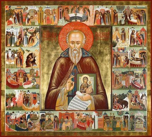 Св. Савва Сторожевский: икона с клеймами жития