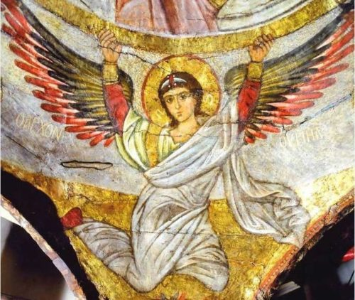 Архангел Уриил, на храмовой росписи XIII в. Эль-Моаллака, Каир, Египет. Роспись внутреннего объема напрестольной сени в алтаре Иоанна Предтечи.