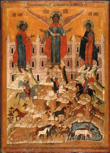 Чудо Архангела Михаила о Флоре и Лавре икона