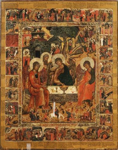 Святая Троица (Гостеприимство Авраама) с житием Авраама и Моисея_3180
