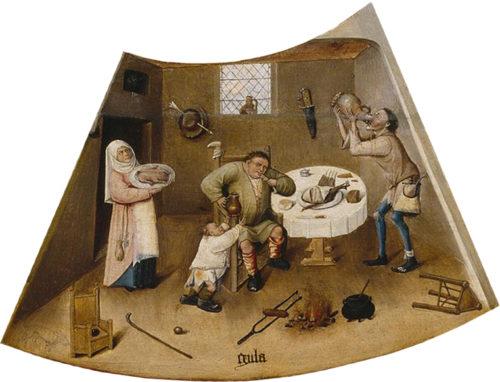 Чревоугодие, фрагмент картины Иеронима Босха