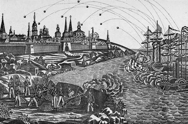 Нападение англичан на Соловецкий монастырь. Лубочная картинка 1868 года