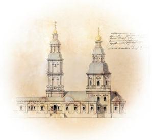 Фасад Казанской церкви в Дивеево, 1827 год