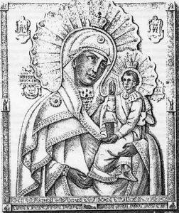 Литография иконы Шуйско-Смоленской Богоматери из книги П. И. Гундобина 1862 года. Возможно, изображает оригинал 1654 года из Шуи[